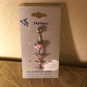 Jewelry - 💕 NEW VINTAGE Navel Jewelry 14g Pink Hearts/Wings